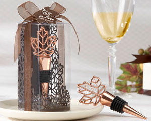 """Lustrous Leaf"" Copper-Finish Bottle Stopper in Laser-Cut Leaf Gift Box-fall wedding favors, wine wedding favors"