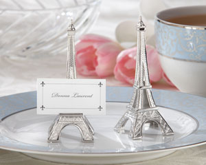 """Evening in Paris"" Eiffel Tower Silver-Finish Place Card/Holder (set of 4)-destination wedding place card holders, French wedding theme ideas, kate aspen wedding place card holders,placecards, reception card, place card holders, card place holders, wedding table names, placecard holders, wedding table numbers, place card holder, wedding table number ideas, wedding table cards"