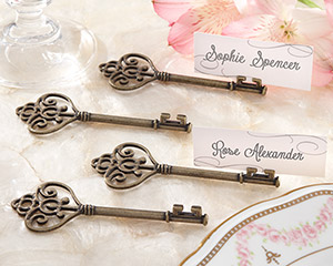 """Key To My Heart"" Victorian-Style Key Place Card Holder (Set of 4)-Key To My Heart Victorian-Style Key Place Card Holder (Set of 4)"