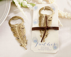 """GILDED GOLD"" FEATHER BOTTLE OPENER-GILDED GOLD FEATHER BOTTLE OPENER"