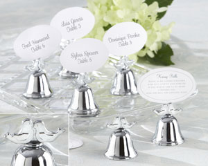 """Lovebirds"" Silver-Finish Kissing Bell Place Card Holder-Lovebirds Silver-Finish Kissing Bell Place Card Holder"