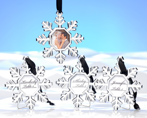 Snowflake Place Card Holder/Ornament (Set of 4)-placecards, reception card, place card holders, card place holders, wedding table names, placecard holders, wedding table numbers, place card holder, wedding table number ideas, wedding table cards