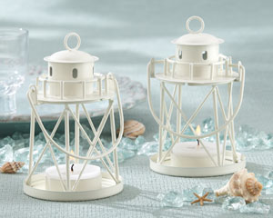 By the Sea Lighthouse Tea Light Holder-beach wedding candle holders, beach wedding decoration ideas, kate aspen wedding favors