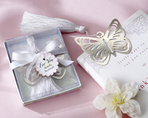 Butterfly Silver-Metal Bookmark with White Silk Tassel-