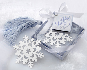 """Snowflake"" Bookmark with Silver Finish and Elegant Ice-Blue Tassel-winter wedding favors, practical wedding favors, discount wedding favors, kate aspen wedding favors"