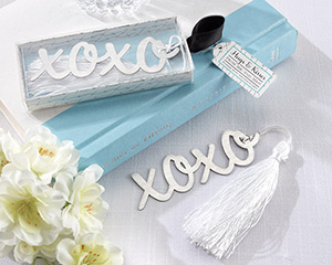 """""""Hugs & Kisses"""" Silver-Finish Bookmark with Elegant White-Silk Tassel-Hugs & Kisses Silver-Finish Bookmark with Elegant White-Silk Tassel"""