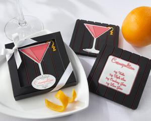 """Oh, So Cosmopolitan"" Reversible Recipe Coaster-Cosmopolitan Reversible Recipe Coaster wedding favor"