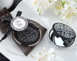 Reflections Elegant Black-and-White Mirror Compact-Elegant Black-and-White Mirror Compact wedding favors