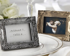 Work of Art Antique-Finish Gold Place Card Holder - Photo Frame-Antique-Finish Place Card Holder