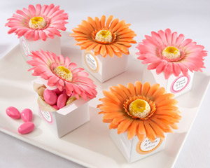 Daisy Delight Gerbera Daisy Favor Box - Bright Orange - Hot Pink - Set of 24-baby shower party favors, ideas for baby shower favors, baby shower favors ideas, creative baby shower favors, baby showers favors