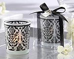 Damask Traditions Frosted Glass Tea Light Holder with Kate Aspen Signature Charm ( Set of 4 )-