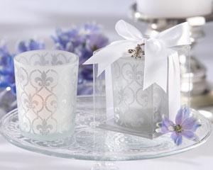 """Fleur-de-lis"" Frosted-Glass Tea Light Holder (set of 4)-wedding candle holders, kate aspen wedding tea light candle holders"
