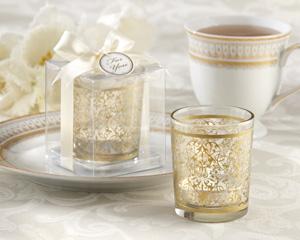 Golden Renaissance Glass Tealight Holder (Set of 4)-Golden Renaissance Glass Tealight Holder (Set of 4)