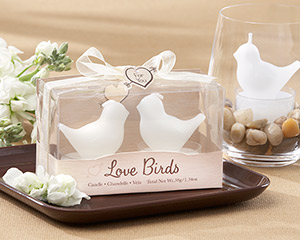 """Love Birds"" White Bird Tea Light Candles-Love Birds White Bird Tea Light Candles"
