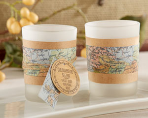 """OUR ADVENTURE BEGINS"" VINTAGE MAP TEALIGHT HOLDER (SET OF 4)-OUR ADVENTURE BEGINS VINTAGE MAP OUR ADVENTURE BEGINS VINTAGE MAP TEALIGHT HOLDER (SET OF 4)"
