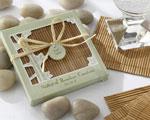 Natural Bamboo Eco-Friendly Coaster Favors-asian, oriental, green, eco-friendly, environmental, wedding favor, bamboo, coaster, natural