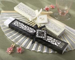 Luxurious Silk Fan in Elegant, Laser-Cut Gift Box (Black or Ivory, Set of 4)-Luxurious Silk Fan in Elegant, Laser-Cut Gift Box