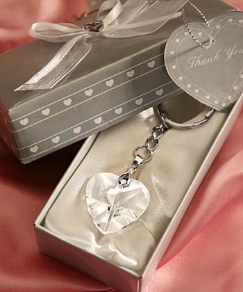 Chrome Key Chain With Crystal Heart-Heart design keychain