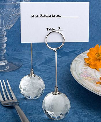 Choice Crystal Collection crystal ball place card holders-Choice Crystal Collection crystal ball place card holders,Charming Chrome Bell Place Card-Photo Holder with Dangling Heart Charm
