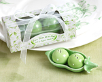 """""""Two Peas in a Pod"""" - Ceramic Salt & Pepper Shakers in Ivy Print Gift Box-salt and pepper shaker, green wedding favor, two peas in a pod, ivy gift box, charming favor, practical gifts"""