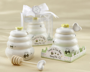 """Sweet As Can Bee"" Ceramic Honey Pot with Wooden Dipper-Ceramic Honey Pot with Wooden Dipper"