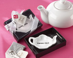 """Swee-Tea"" Ceramic Tea-Bag Caddy in Black & White Serving-Tray Gift Box-tea party favors"