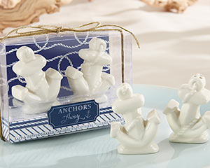 "S""ANCHORS AWAY"" CERAMIC SALT AND PEPPER SHAKERS-ANCHORS AWAY CERAMIC SALT AND PEPPER SHAKERS"