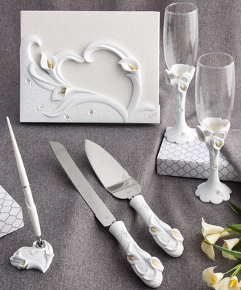 CALLA LILY THEMED WEDDING DAY ACCESSORY SET-CALLA LILY THEMED WEDDING DAY ACCESSORY SET