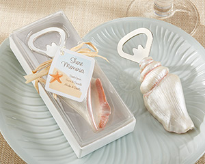 """Shore Memories"" Sea Shell Bottle Opener with Thank you Tag-beach wedding favors"