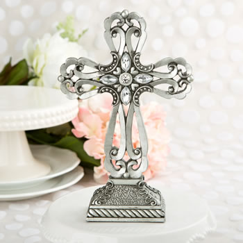 LARGE PEWTER CROSS STATUE WITH ANTIQUE ACCENTS-LARGE PEWTER CROSS STATUE WITH ANTIQUE ACCENTS