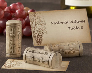 """Maison du Vin"" Wine Cork Place Card/Photo Holder with Grape-Themed Place Cards (Set of 4)-Wine Wedding card holders,placecards, reception card, place card holders, card place holders, wedding table names, placecard holders, wedding table numbers, place card holder, wedding table number ideas, wedding table cards"