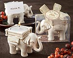 """Lucky Elephant"" Antique Ivory-Finish Tea Light Holder-indian, asian, wedding favors, good luck, oriental, eastern, elephant"