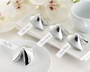 """""""Good Fortune"""" Fortune Cookie Place Card Holder (Set of 4)-Fortune Cookie Place Card Holder, Asian wedding decoration ideas,placecards, reception card, place card holders, card place holders, wedding table names, placecard holders, wedding table numbers, place card holder, wedding table number ideas, wedding table cards"""