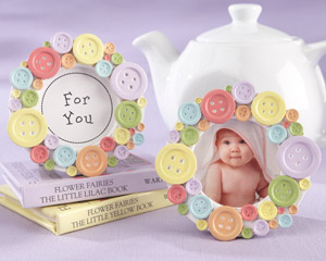 Cute as a Button Round Photo Frame-Photo Frame baby shower favor, placecards,baby shower party favors, ideas for baby shower favors, baby shower favors ideas, creative baby shower favors, baby showers favors