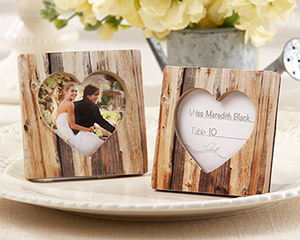 """Rustic Romance"" Faux-Wood Heart Place Card Holder/Photo Frame-Rustic Romance Faux-Wood Heart Place Card Holder/Photo Frame"