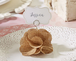 BURLAP ROSE PLACE CARD HOLDER (SET OF 6)-BURLAP ROSE PLACE CARD HOLDER (SET OF 6)