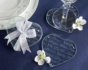 Good Wishes Heart Glass Coasters-heart themed wedding favor ideas,heart themed wedding favor,Favors For Communions, Favors For Christenings, Favors For Baptisms, Baptism & Christening Favors, promo items, giveaway ideas, Sunday school gifts, church marketing