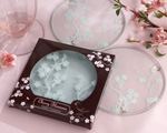 """Cherry Blossoms"" Frosted Glass Coasters-Asian wedding favors, cherry blossom wine wedding favor"