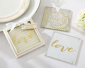 GOLD LOVE GLASS COASTERS-GOLD LOVE GLASS COASTERS