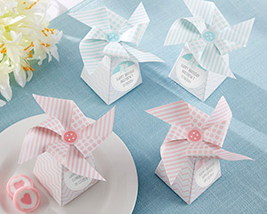 """WHIMSICAL MOMENTS"" PINWHEEL FAVOR BOX-PINK OR BLUE (SET OF 24)-WHIMSICAL MOMENTS PINWHEEL FAVOR BOX-PINK OR BLUE baby shower favor box"