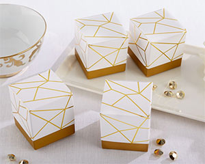 WHITE AND GOLD GEOMETRIC FAVOR BOX (SET OF 24)-WHITE AND GOLD GEOMETRIC FAVOR BOX (SET OF 24)