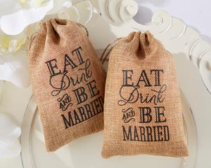 """EAT, DRINK AND BE MARRIED"" BURLAP FAVOR BAGS (SET OF 12)-EAT, DRINK AND BE MARRIED BURLAP FAVOR BAGS (SET OF 12)"