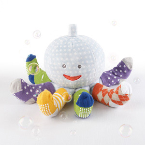 """""""Mr. Sock T. Pus"""" Plush Octopus with 4 Pairs of Socks (Blue)-Mr. Sock T. Pus Plush Octopus with 4 Pairs of Socks (Blue)"""