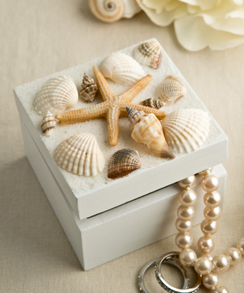 Sea Shell Themed Trinket Box With Natural Shells-Butterfly Design Curio Box Favor