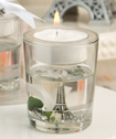 Eiffel Tower Gel Candle Holder With White Rose And Leaf Detail-Eiffel Tower Gel Candle Holder With White Rose And Leaf Detail