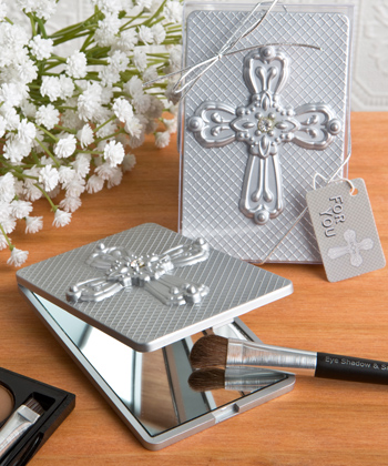 Compact Mirror With Ornate Cross From Fashioncraft-Compact Mirror With Ornate Cross ,Favors For Communions, Favors For Christenings, Favors For Baptisms, Baptism & Christening Favors, promo items, giveaway ideas, Sunday school gifts, church marketing