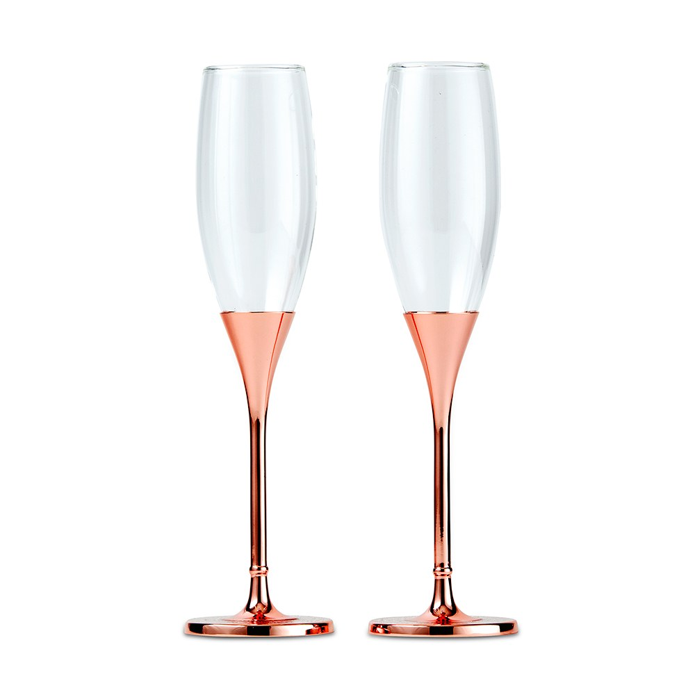Rose Gold Champagne Glasses With Rhinestone Crystals-Rose Gold Champagne Glasses