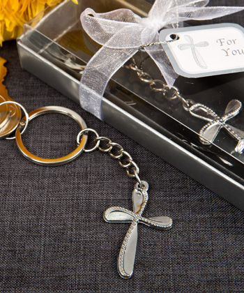 Metal cross key chain with beaded design-Metal cross key chain with beaded design