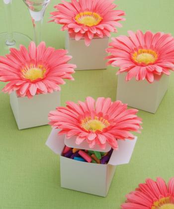 classy pink Gerbera Daisy-adorned box favors-classy pink Gerbera Daisy-adorned box favors