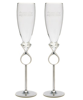 Diamond Ring Champagne Flutes-Wedding Toasting Flutes, Affordable Wedding Toasting Flutes by Weddingstar, Diamond Weddings, Diamond Wedding Ideas